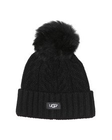 Ugg Womens Black Cable Pom Beanie