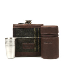 Barbour Lifestyle Mens Red Tartan Hip Flask & Cups