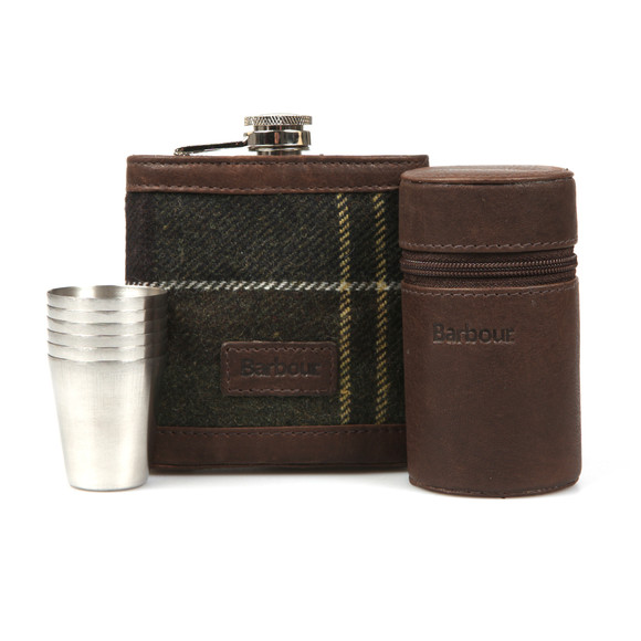 Barbour Lifestyle Mens Red Tartan Hip Flask & Cups main image