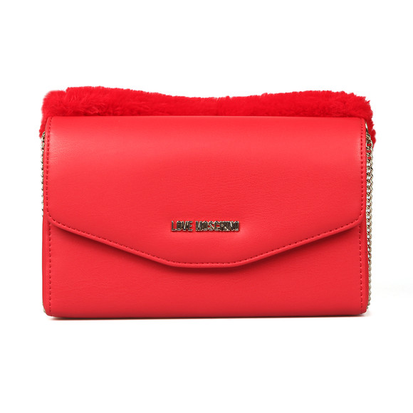 Love Moschino Womens Red Borsa Nappa PU & Fur Bag main image
