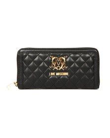 Love Moschino Womens Black Portafogli Quilted Purse