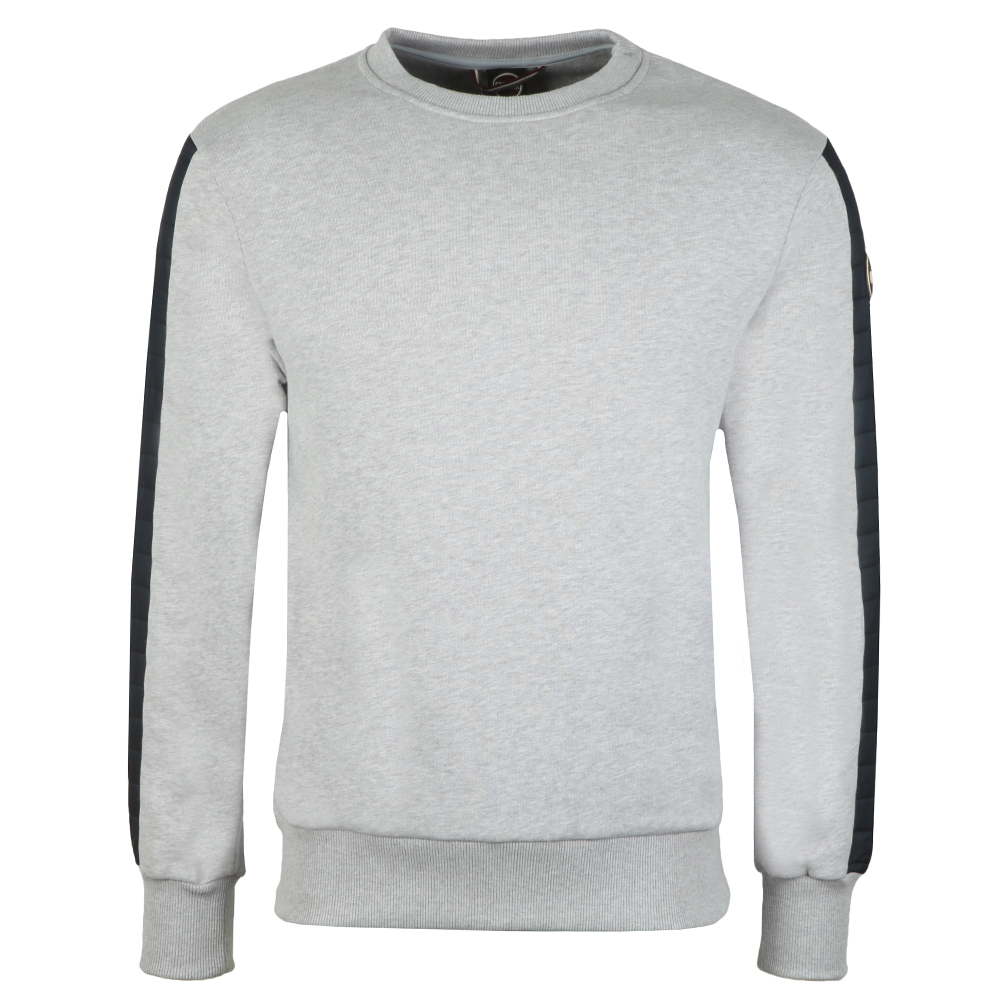 86855dc17 Mens Grey Sweatshirt With Padded Sleeve Detail