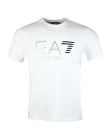 EA7 Emporio Armani Mens White Large Chest Logo Tee