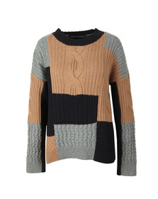 French Connection Womens Blue Amie Patch Knit Cable Jumper