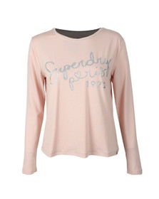 Superdry Womens Pink Cassie Long Sleeve Loungewear Top