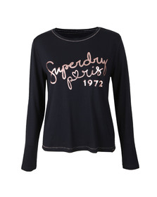 Superdry Womens Blue Cassie Long Sleeve Loungewear Top