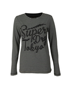 Superdry Womens Black Amelia Sparkle Graphic Top