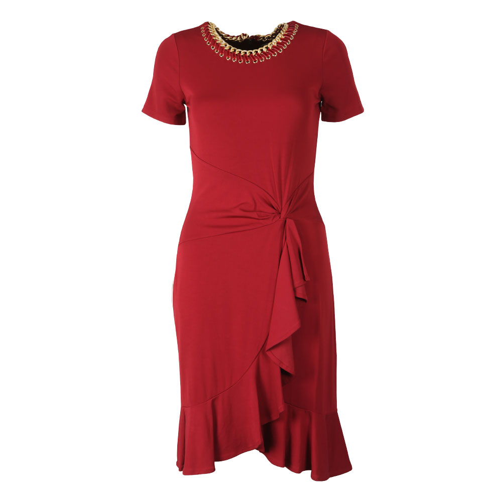 Chain Trimmed Stretch-Viscose Twist Dress main image