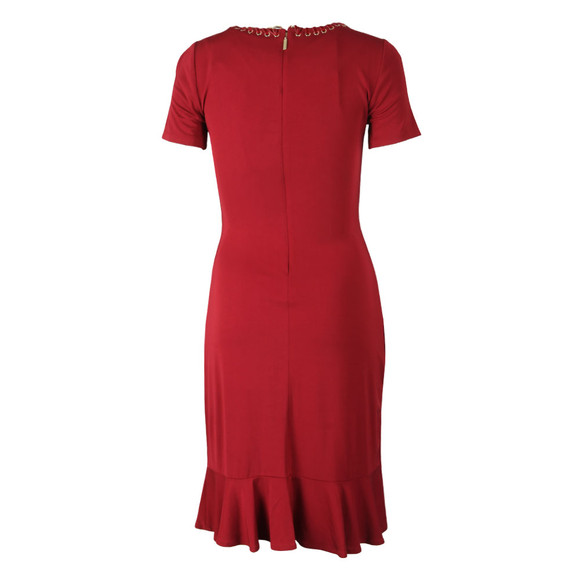 Michael Kors Womens Red Chain Trimmed Stretch-Viscose Twist Dress