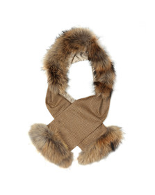 Holland Cooper Womens Beige Gold Label Fur Scarf