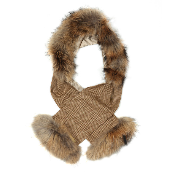 Holland Cooper Womens Beige Gold Label Tweed and Fur Scarf main image
