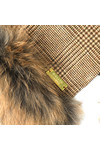 Holland Cooper Womens Beige Gold Label Tweed and Fur Scarf