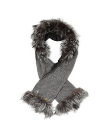 Holland Cooper Womens Grey Gold Label Fur Scarf
