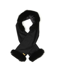 Holland Cooper Womens Black Gold Label Fur Scarf