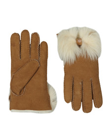 Ugg Womens Brown Long Pile Bow Glove