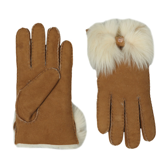 Ugg Womens Brown Long Pile Bow Glove main image