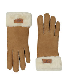 Ugg Womens Brown Sheepskin Turn Cuff Glove