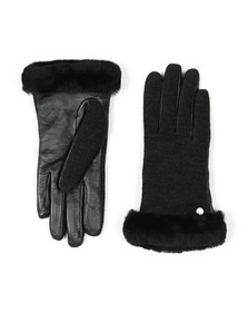 Ugg Womens Black Fabric Leather Shorty Gloves