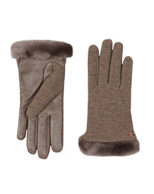 Ugg Womens Grey Fabric Leather Shorty Gloves