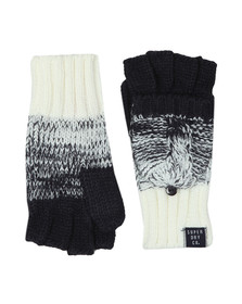 Superdry Womens Blue Clarrie Cable Mittens