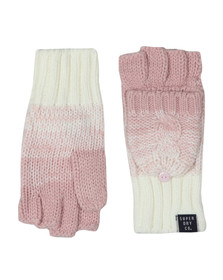 Superdry Womens Pink Clarrie Cable Mittens