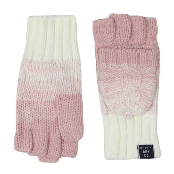 Superdry Womens Pink Clarrie Cable Mittens main image