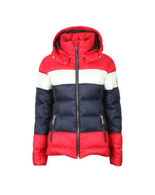 Holland Cooper Womens Red The Megeve Tri Colour Padded Coat