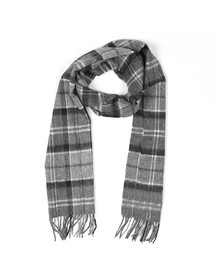Barbour Lifestyle Mens Black Tartan Lambswool and Cashmere Scarf