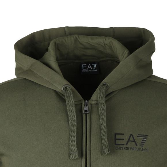EA7 Emporio Armani Mens Green Small Logo Full zip Hoody main image
