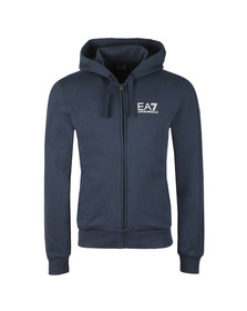EA7 Emporio Armani Mens Blue Small Logo Full zip Hoody