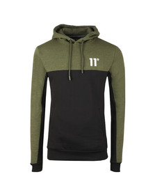 Eleven Degrees Mens Green Block Pull Over Hoodie
