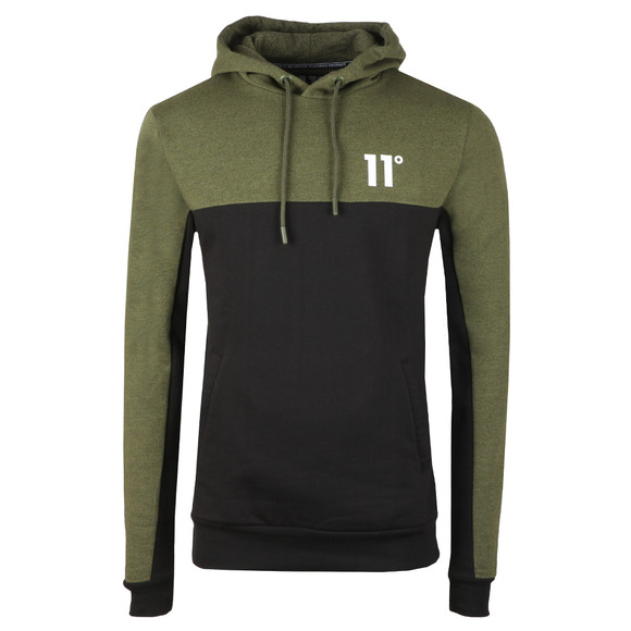 Eleven Degrees Mens Green Block Pull Over Hoodie main image