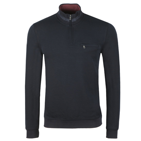 Ted Baker Mens Blue Leevit Half Zip Funnel Neck Sweat main image