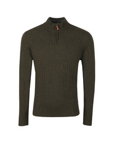 Ben Sherman Mens Green 1/4  Zip Funnel Neck Jumper