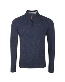 Ben Sherman Mens Blue 1/4  Zip Funnel Neck Jumper