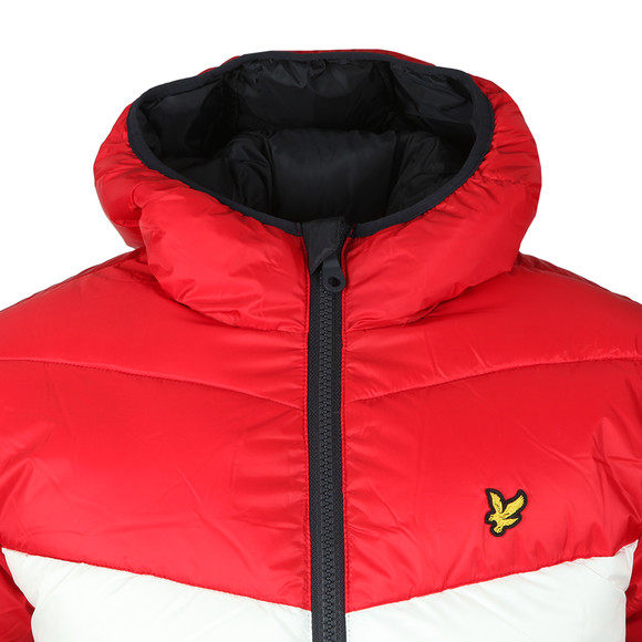 Lyle and Scott Mens Blue Colour Block Puffa Jacket main image