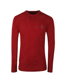 Luke Mens Red Hortons Court Crew Neck Jumper