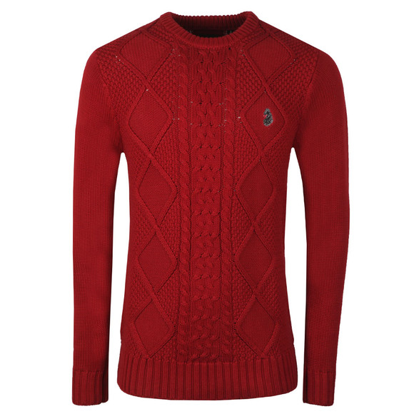 Luke Mens Red Hortons Court Crew Neck Jumper main image