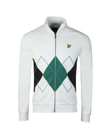 Lyle and Scott Mens White Argyle Zip Sweat