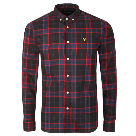 Lyle and Scott Mens Black L/S Check Flannel Shirt main image