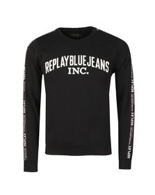 Replay Mens Black Logo Stripes Sweatshirt