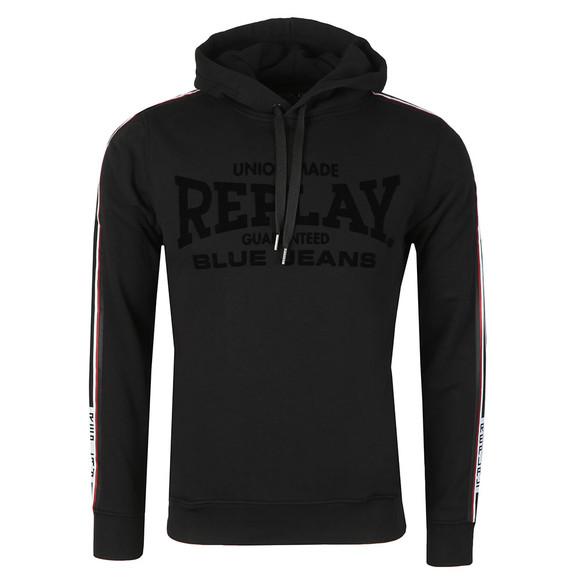 Replay Mens Black Logo Stripes Hoody main image