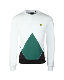 Lyle and Scott Mens White Abstract Argyle Sweatshirt