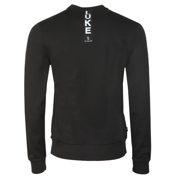 Luke Mens Black Glass Box Tape Detail Crew Sweat main image