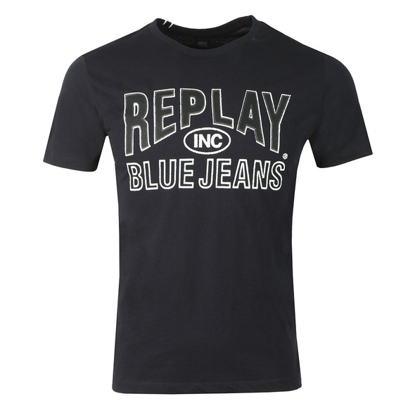 Replay Mens Blue Jeans Logo T-Shirt main image