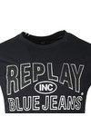 Replay Mens Blue Jeans Logo T-Shirt