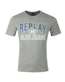 Replay Mens Grey Jeans Logo T-Shirt