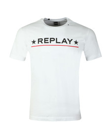 Replay Mens White Compact Cotton T-Shirt