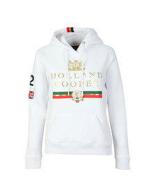 Holland Cooper Womens White Sportswear Luxe Text Hoodie