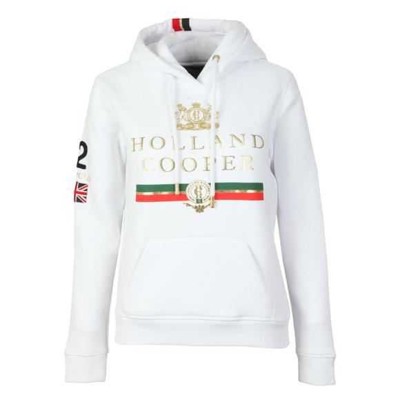 Holland Cooper Womens White Sportswear Luxe Text Hoodie main image